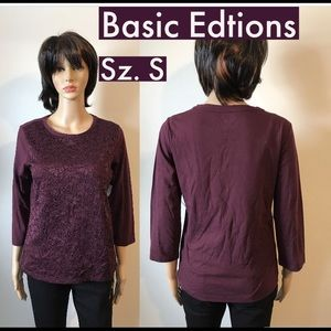 NWT Basic Editions Front Floral Lace Top